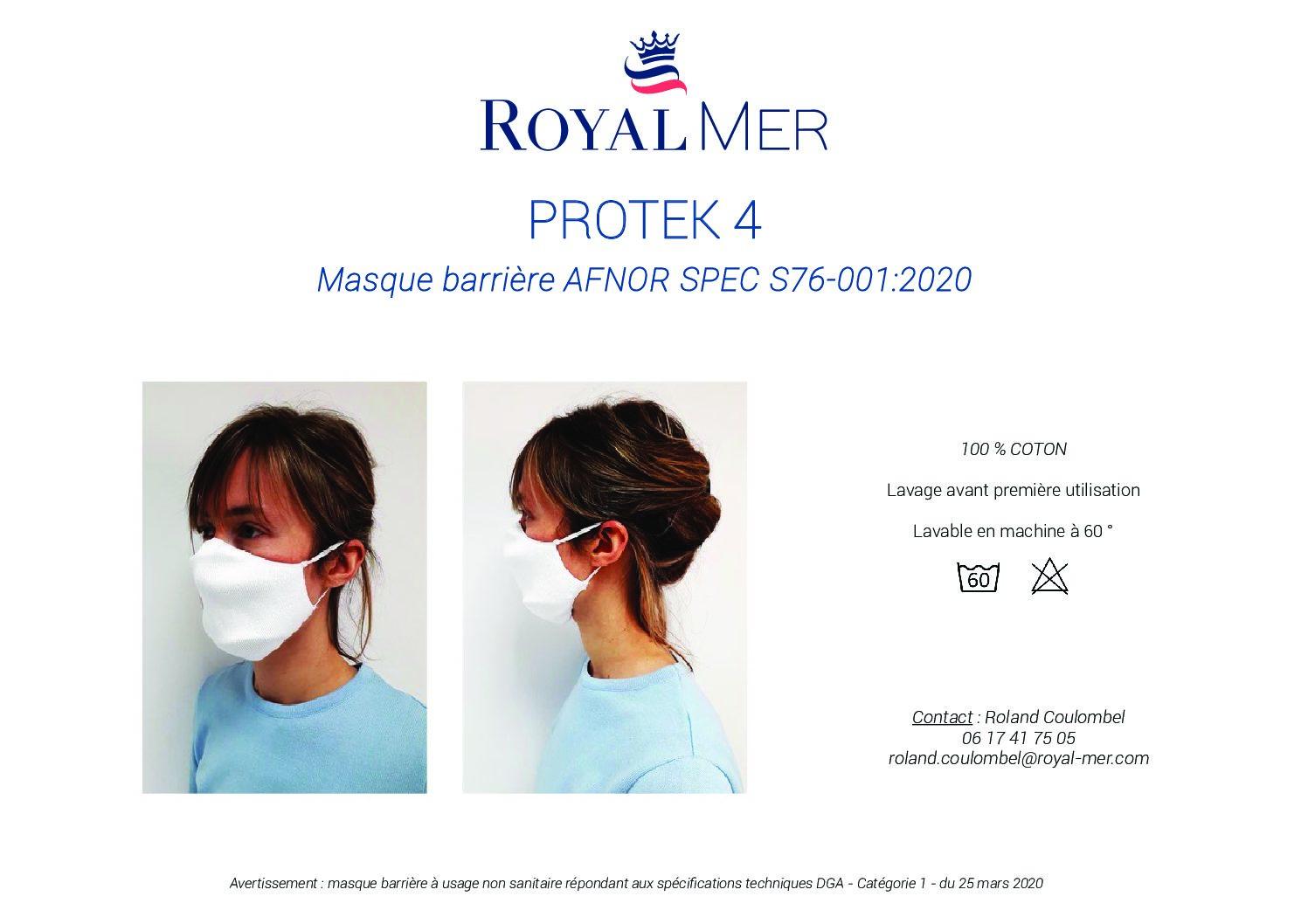 Notice pour le masque réutilisable à plis Royal Mer Protek 4 ( couleur marron).